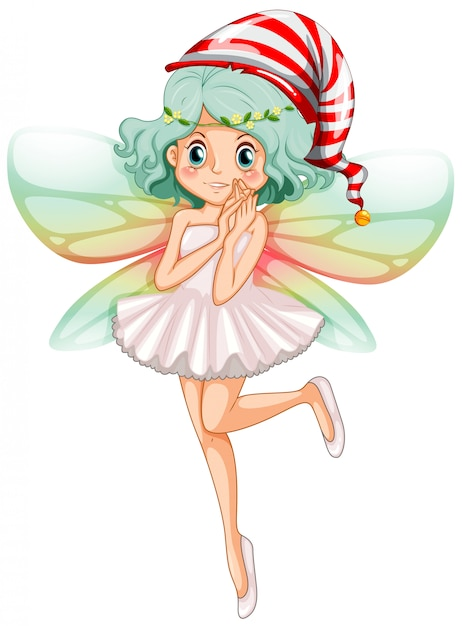 Fairy wearing party hat for christmas Free Vector