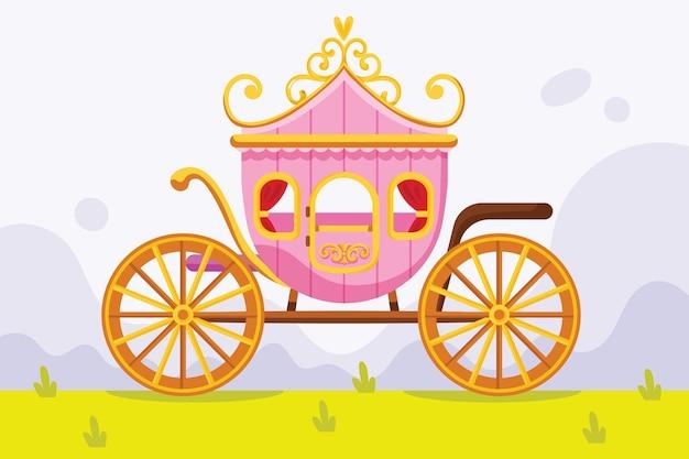 おとぎ話の馬車のコンセプト 無料ベクター