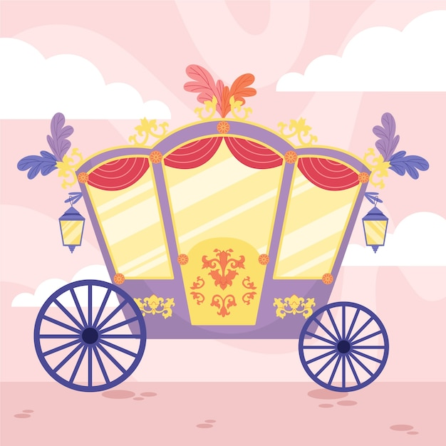Fairytale carriage with flowers on the roof Free Vector