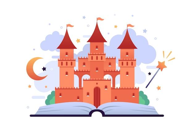 Concetto di castello da favola Vettore gratuito