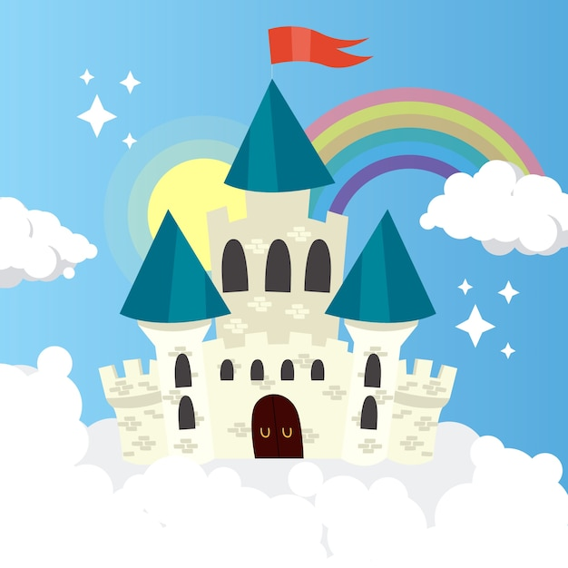 Сказочный замок с радугой и облаками Бесплатные векторы