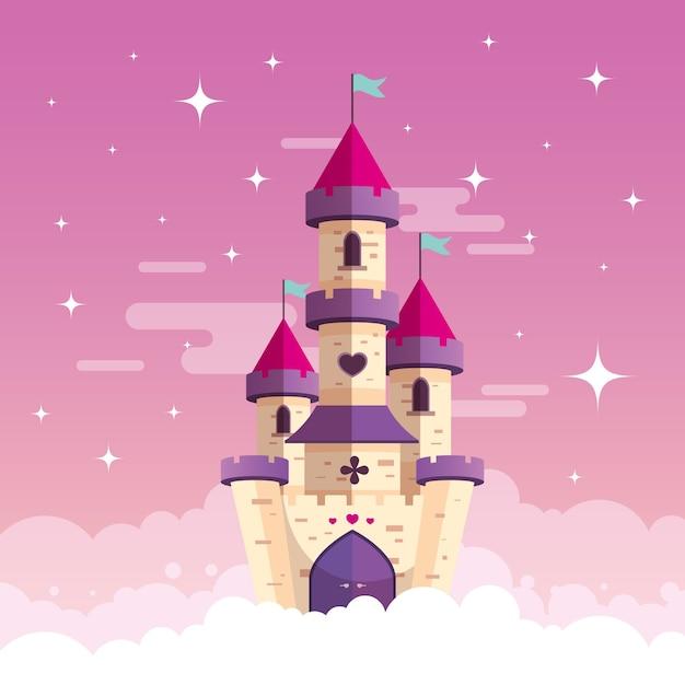雲の上の城とおとぎ話の概念 Premiumベクター