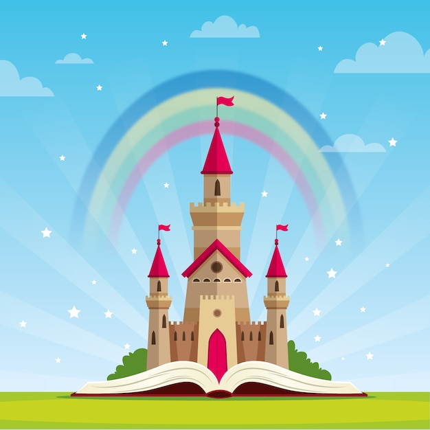 Fairytale concept with castle and rainbow Free Vector