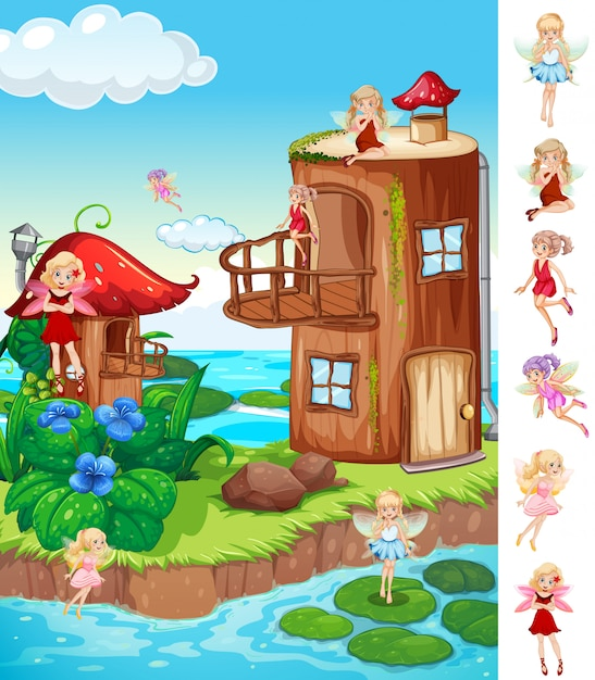 Fairytale and fantasy world Free Vector