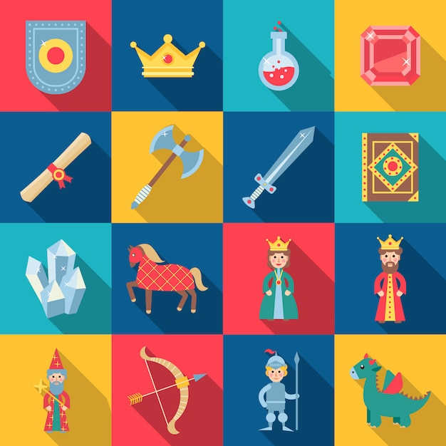 Fairytale game set Free Vector
