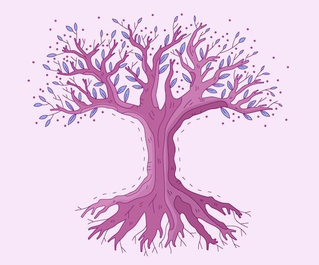 Vita dell'albero disegnato a mano da favola Vettore gratuito