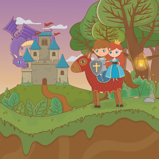 Fairytale landscape scene with castle and lovers couple in horse Premium Vector