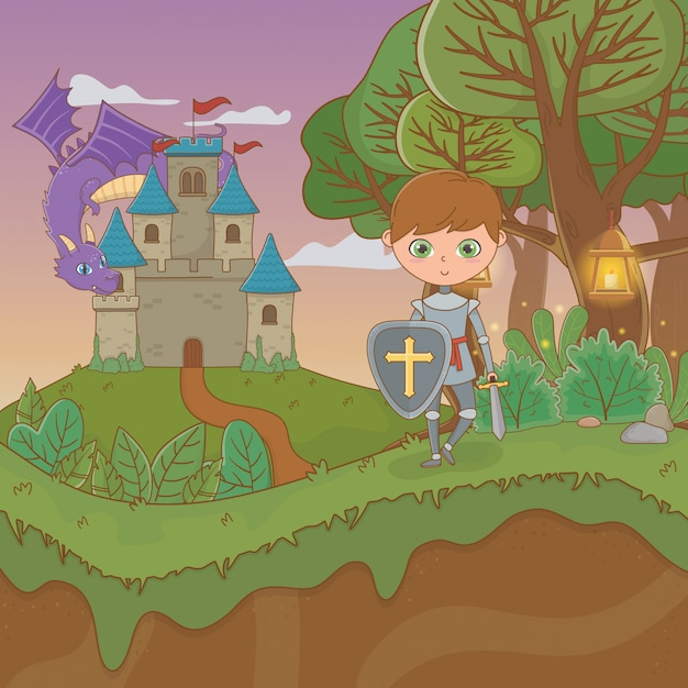 Fairytale landscape scene with castle and warrior Premium Vector