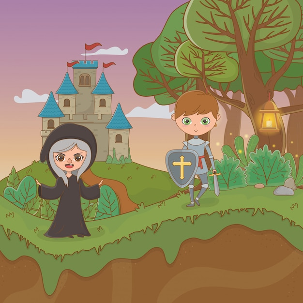 Fairytale landscape scene with witch and warrior Premium Vector