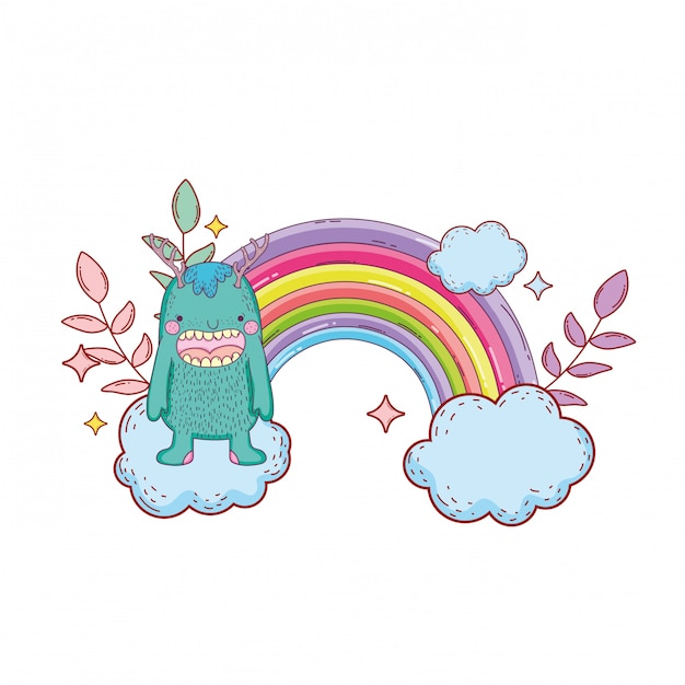 Fairytale monster with clouds and rainbow Vector | Premium