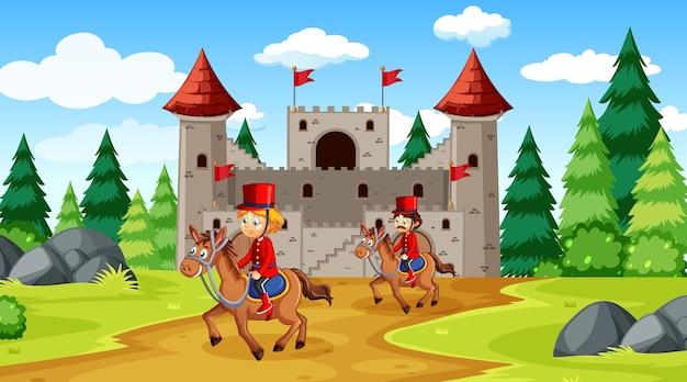 城と兵士のロイヤルガードシーンとおとぎ話のシーン 無料ベクター