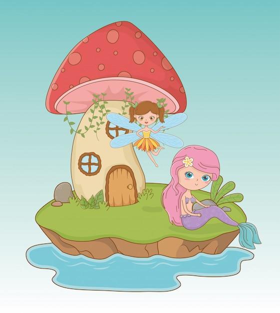 Fairytale scene with fairy and mermaid Free Vector