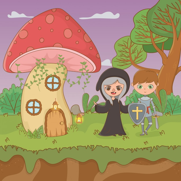 Fairytale scene with witch and wariror Free Vector