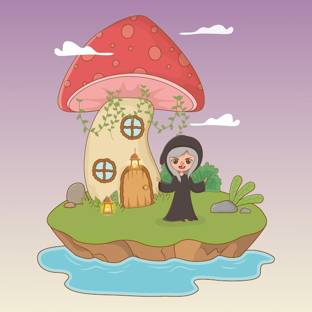 Fairytale scene with witch Free Vector