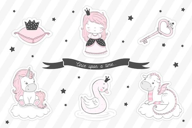 Fairytale stickers collection for girls. Premium Vector