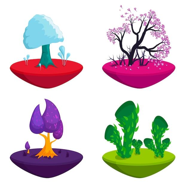 おとぎ話の木が設定されます。ファンタジー植物自然景観要素、面白いカラフルな魔法の木。 Premiumベクター