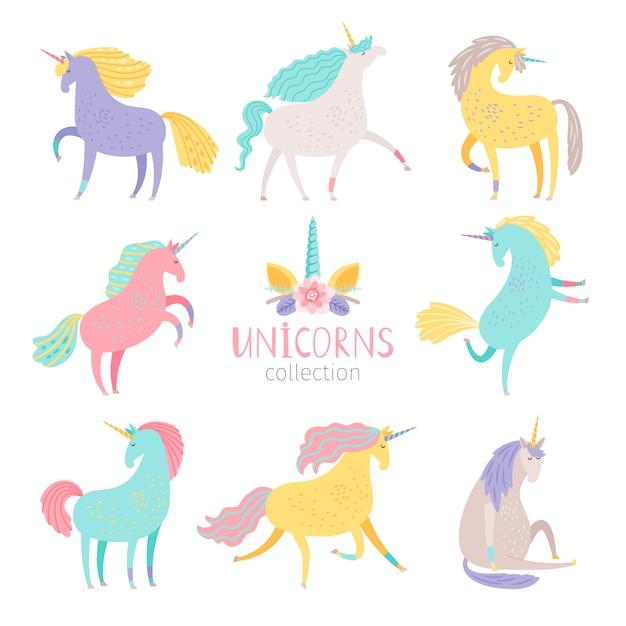 Fairytale unicorn set. Premium Vector
