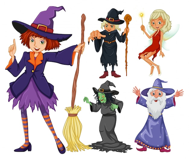 Fairytales set with witch and wizard Free Vector