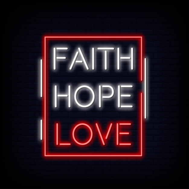 Faith hope love neon sign text vector Premium Vector