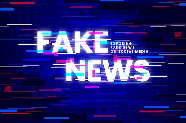 가짜 뉴스 및 글리치 효과 무료 벡터