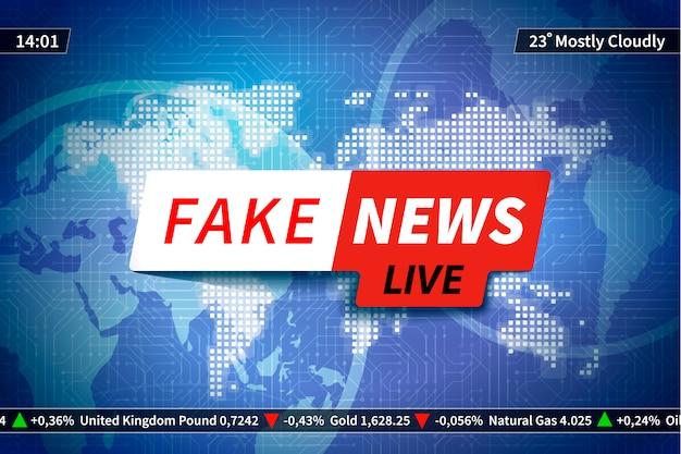 世界地図と青、スクリーンセーバーの偽のニュースの背景 Premiumベクター