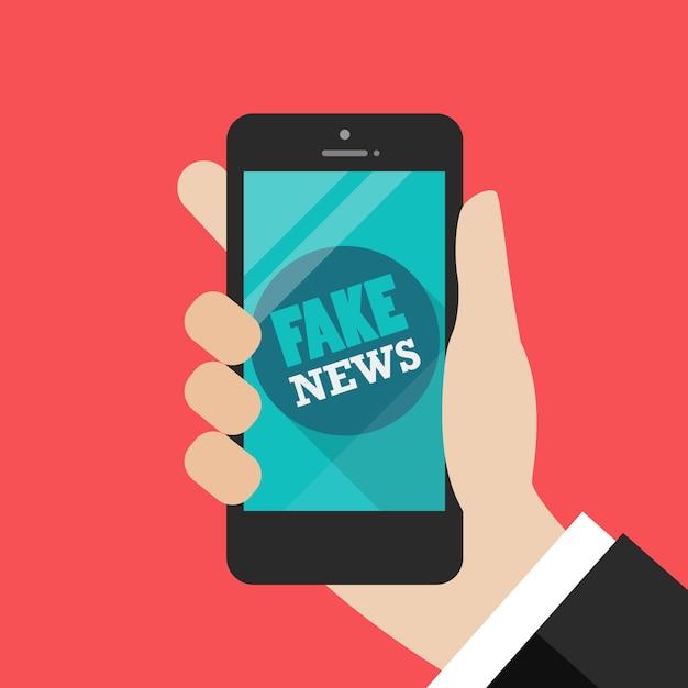 スマートフォン上の偽のニュースワード Premiumベクター