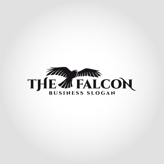 The falcon is a bird logo with flying falcon concept Premium Vector