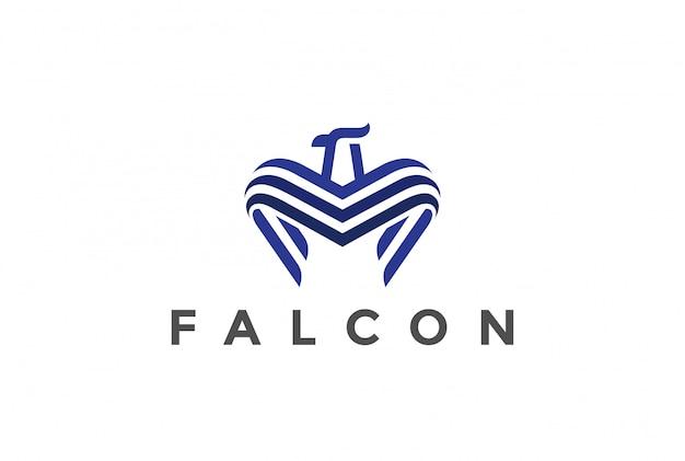 Falcon logo  linear style Free Vector