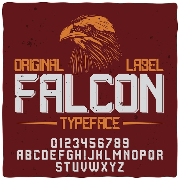 Falcon red label with typeface Free Vector