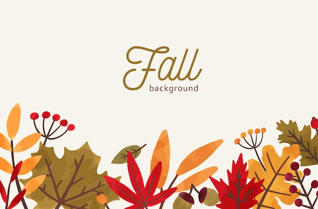 Fall hand drawn vector background. autumn decorative illustration with leaves and place for text. Premium Vector