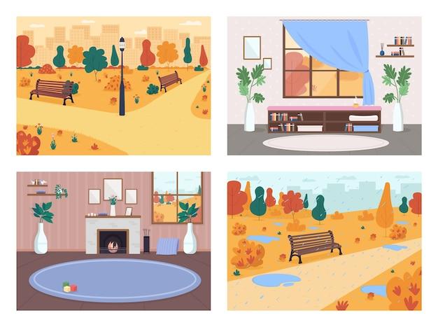 シティフラットカラーセットに落ちる。暖炉のあるリビングルーム。雨と水たまりのある公園。秋の背景コレクションと都市生活2d漫画のインテリアと風景 Premiumベクター