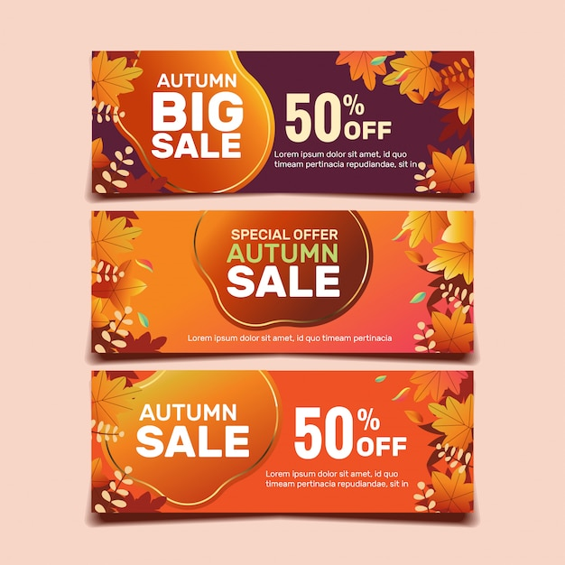 Fall sale banner template collection Premium Vector