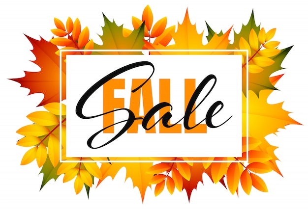 Fall sale flyer with bunch of autumn leaves Free Vector