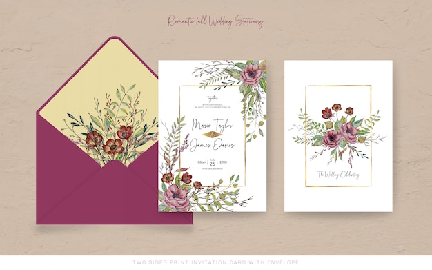 Fall watercolor invitation card with envelope Premium Vector