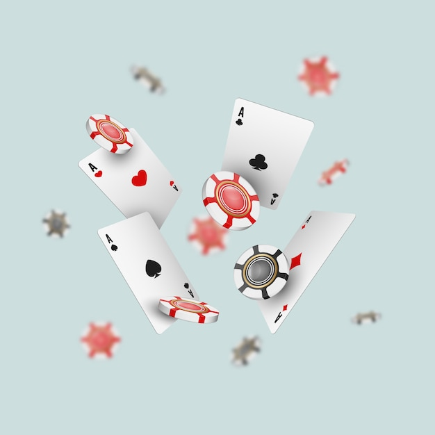 Falling aces cards and casino chips with blurred elements on light . Premium Vector