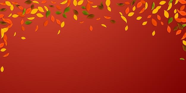 落ち葉。赤、黄、緑、茶色の混沌とした葉が飛んでいます。想像上の赤い背景に降る雨のカラフルな葉。学校に戻って美しいセール。 Premiumベクター