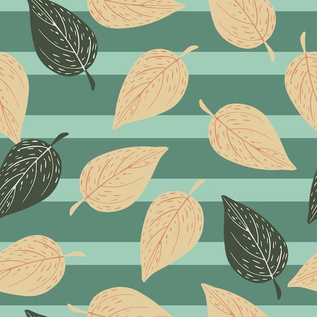 秋の秋は、シームレスな手描きのパターンを残します。縞模様の背景に葉のプリントの輪郭を描きます。 Premiumベクター