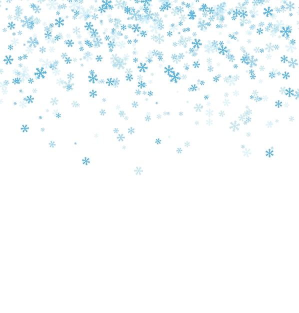 Falling blue snowflakes on white background Premium Vector
