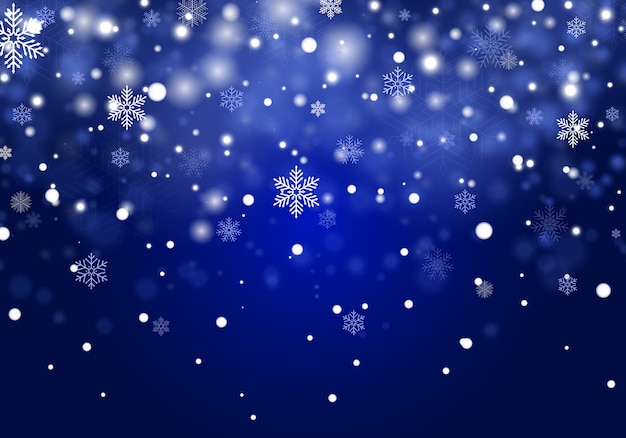 Falling christmas snow background, snowflakes on blue background. Premium Vector
