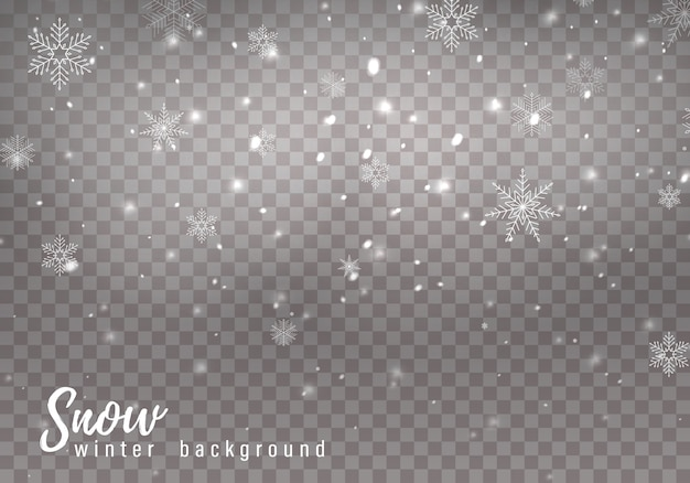 Falling christmas snow, snowflakes, heavy snowfall. Premium Vector