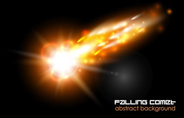Падающая комета, огненный шар или метеор на черном фоне Premium векторы