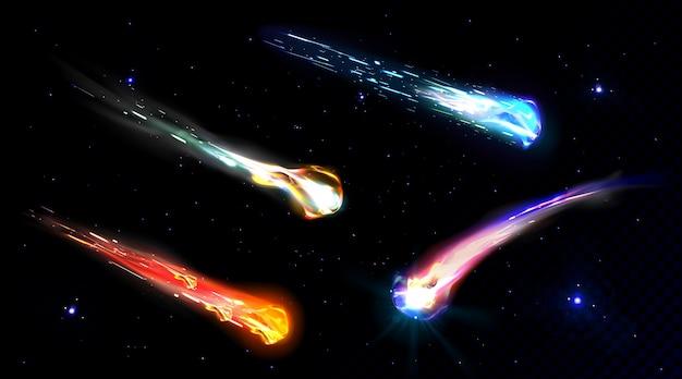 Падающие кометы, астероиды или метеоры с пламенем Бесплатные векторы
