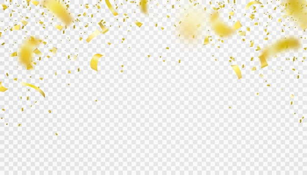 Falling confetti isolated border . shiny gold flying tinsel decoration design. blurred element. Free Vector
