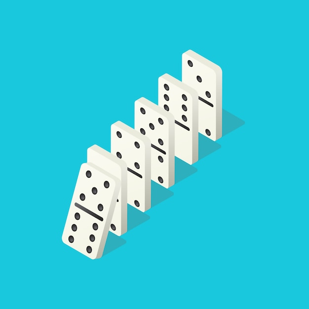 Falling dominoes Premium Vector