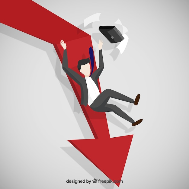 Falling down business Free Vector