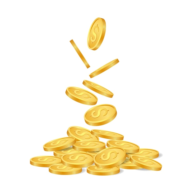 Falling golden coins isolated on white background. Premium Vector