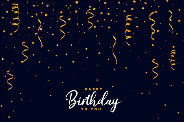 Falling golden confetti happy birthday background design Free Vector
