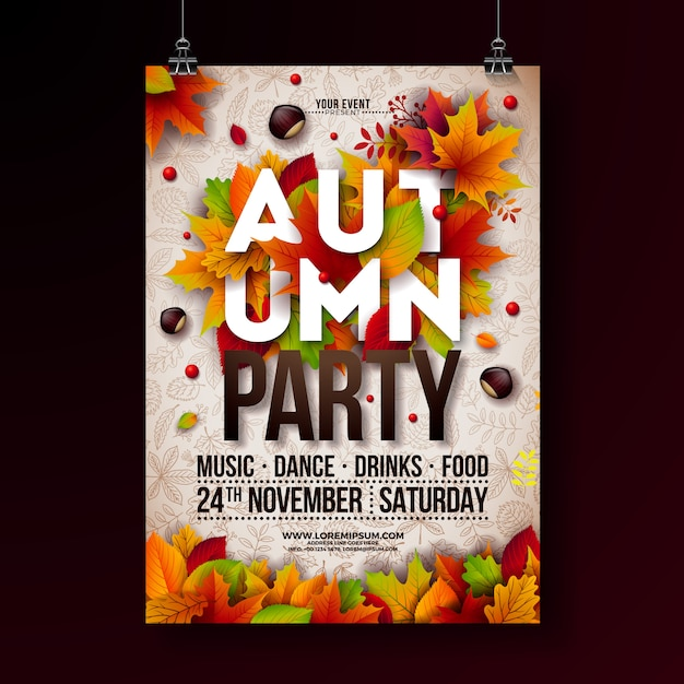 Falling leaves and typography design Premium Vector