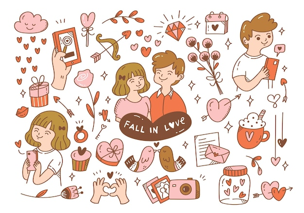 Falling in love couples doodle Premium Vector
