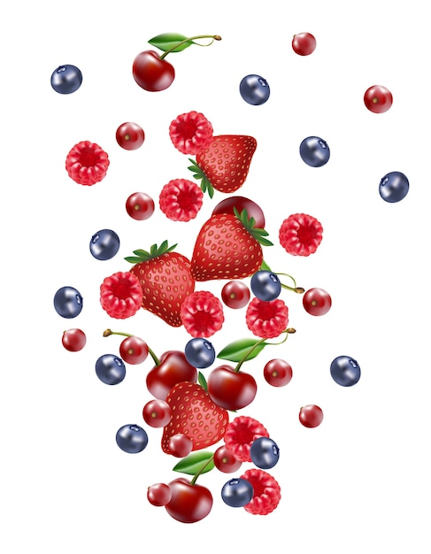 Falling mix berry fruit banner, isolated on white blank ...